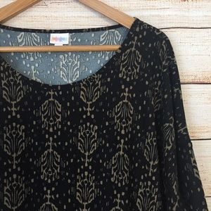 Lularoe Irma in Black and Gold Abstract Print.